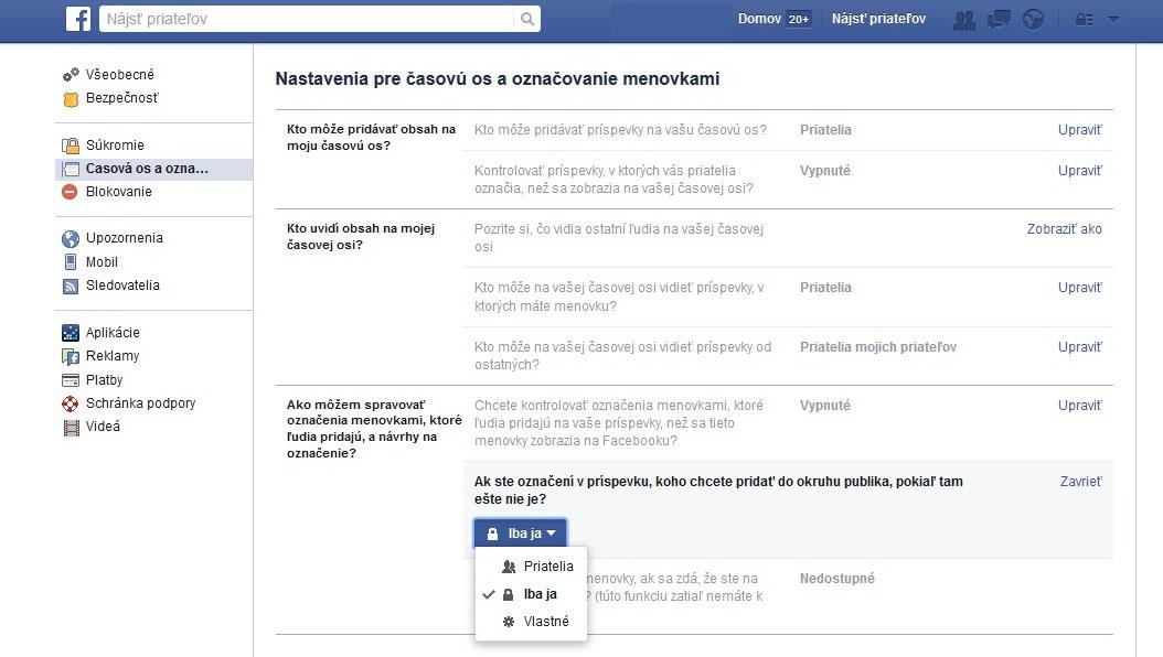 Postup nadstavenia súkromia na Facebooku