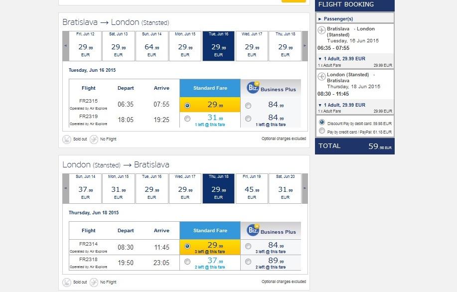 letenka do Londýna cez Ryanair