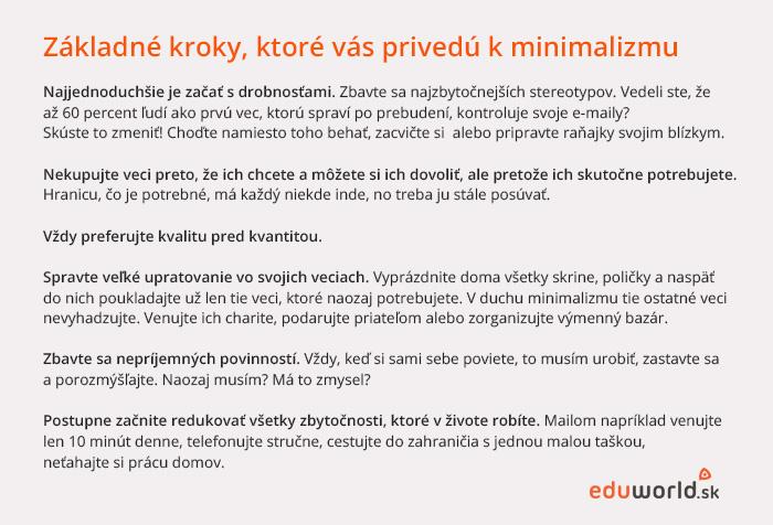 Kroky k minimalizmu - eduworld.sk
