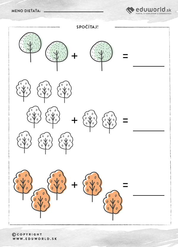 Pracovný list pre predškolákov - Jeseň - počítanie / Zdroj: Eduworld