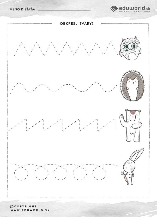 Pracovný list pre predškolákov - Jeseň - zlepšovanie grafomotoriky / Zdroj: Eduworld