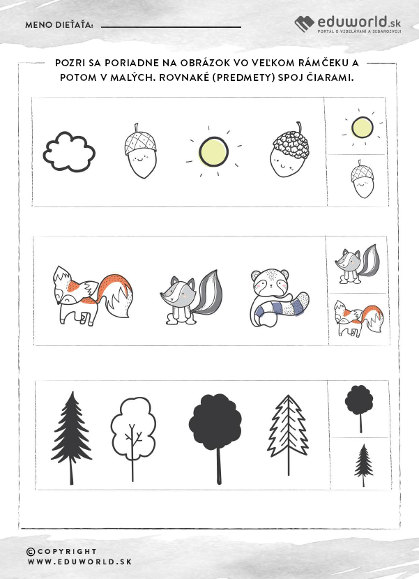 Pracovné listy pre predškolákov - Jeseň - zlepšovanie pozornosti / Zdroj: Eduworld