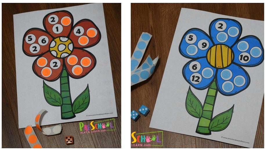 Kocky a kvetinky. Zdroj: preschoolplayandlearn_com