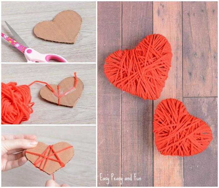 Kartónové srdiečka obmotávame červenou bavlnkou. Zdroj: easypeasyandfun,com