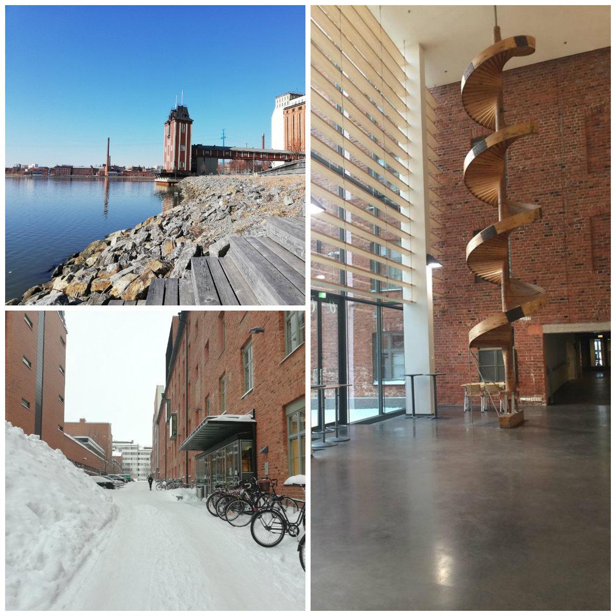 Åbo Akademi University v meste Vaasa- exteriér a interiér školy