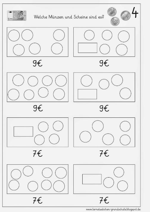Takáto hra s peniazmi rozvíja aj matematické myslenie. / Zdroj: lernstuebchen-grundschule.blogspot.com