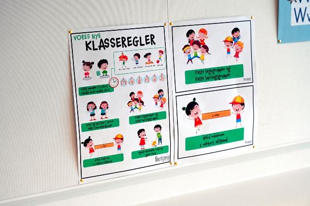 Upozornenia pre deti na hygienické opatrenia v škole / Foto: Philip Davali/Ritzau Scanpix