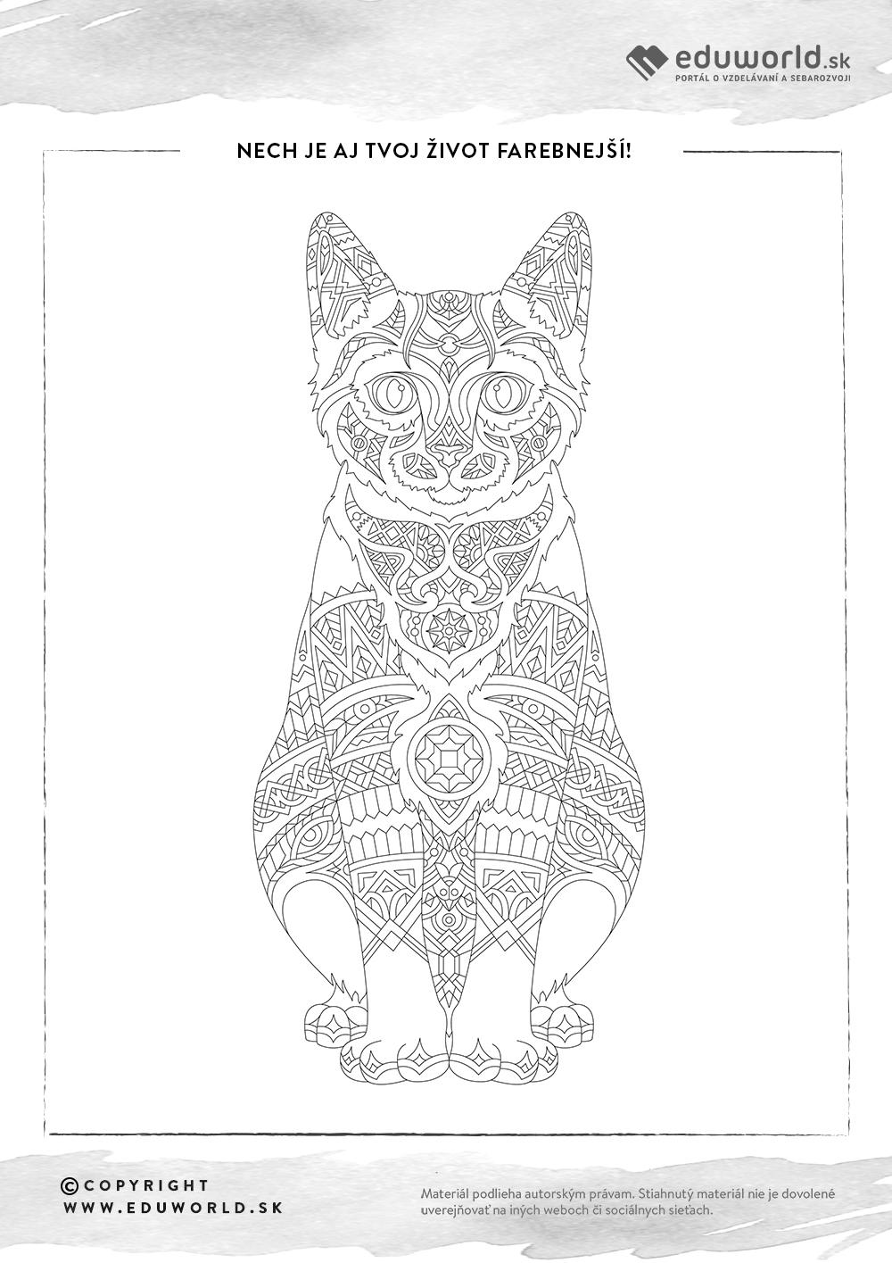 Antistresové omalovánky - mačka / Zdroj: Eduworld
