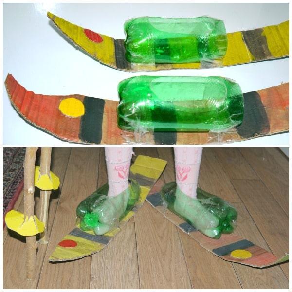 Lyže. Potrebujeme kartón, plastové fľaše a lepiacu pásku alebo pištoľ. Zdroj: playtivites.com