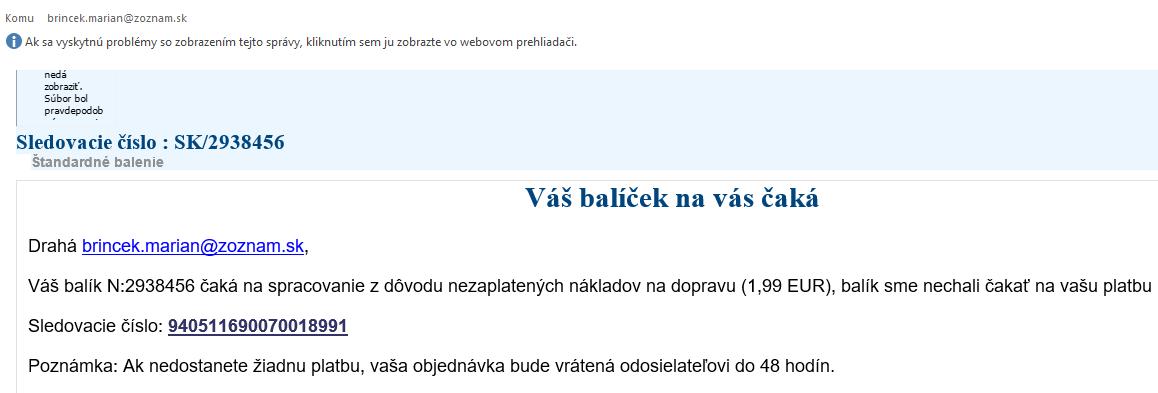 Podvodný e-mail v horšej kvalite odosielaný klientom v mene Slovenskej pošty. / Zdroj: Slovenská pošta