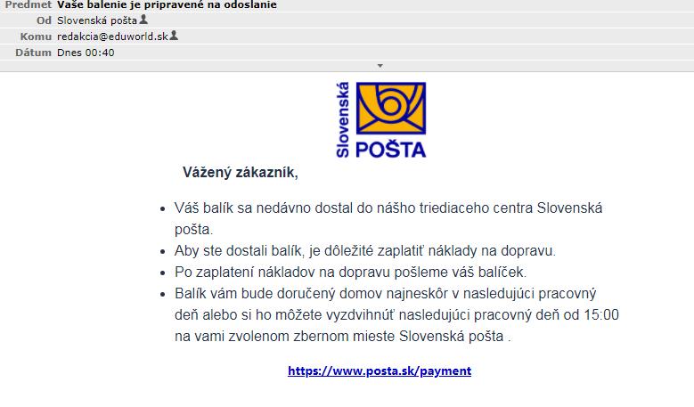 Podvodný e-mail od Slovenskej pošty / Zdroj: screenshot EW