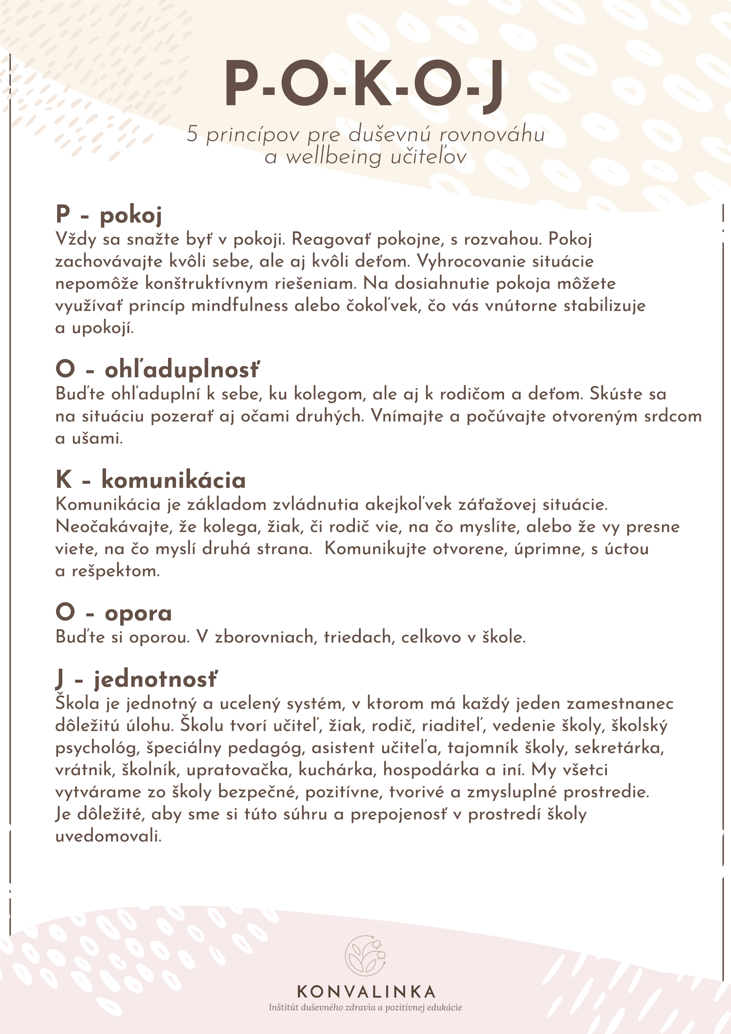 Wellbeing pre učiteľov / Zdroj: KONVALINKA - Inštitút duševného zdravia a pozitívnej edukácie