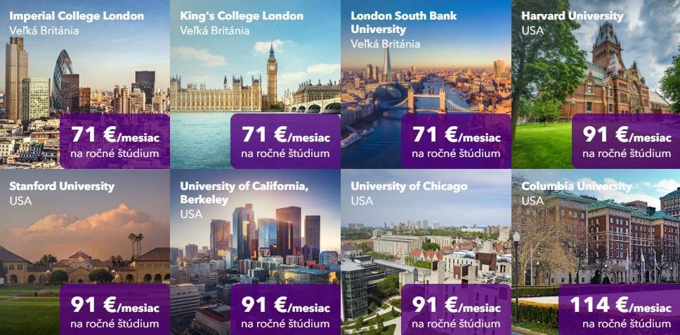 Koľko stojí zahraničná univerzita? Pozrite si prehľad nákladov na jednotlivé univerzity. / Zdroj: Poštová banka