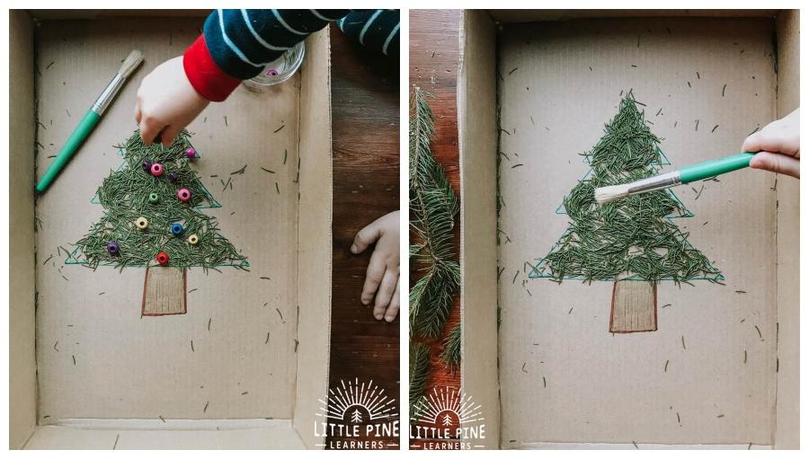 Vianočný stromček v krabici z nastrihaného ihličia