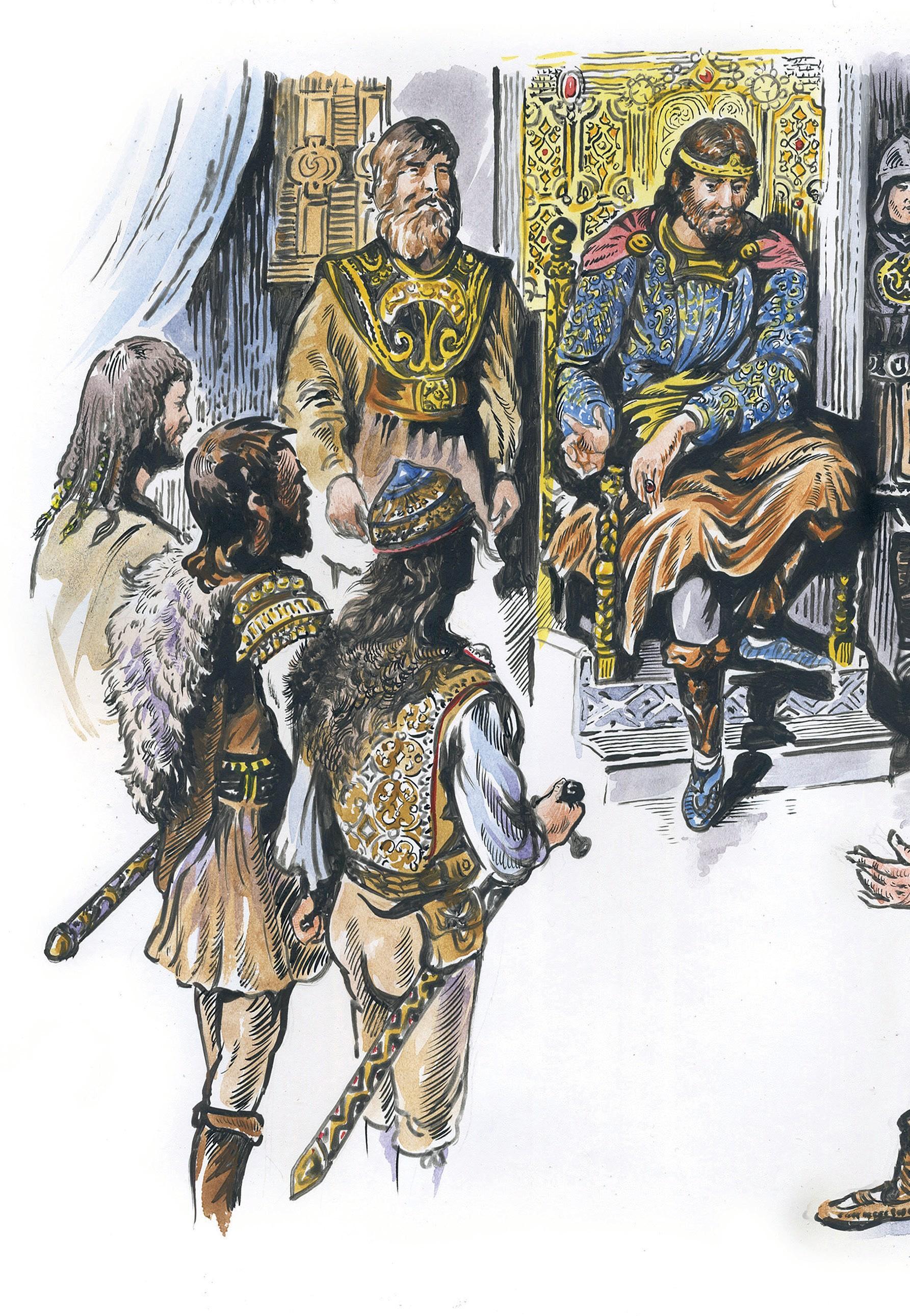 Knihu Tajomstvo zoborského kláštora od Františka Rábeka dopĺňajú ilustrácie Martina Oscitého. / Zdroj: Ikar