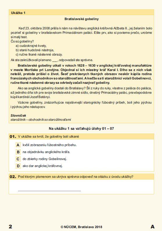 Testovanie 5 2018 - Ukážka zo slovenského jazyka a literatúry  /  Zdroj: NÚCEM