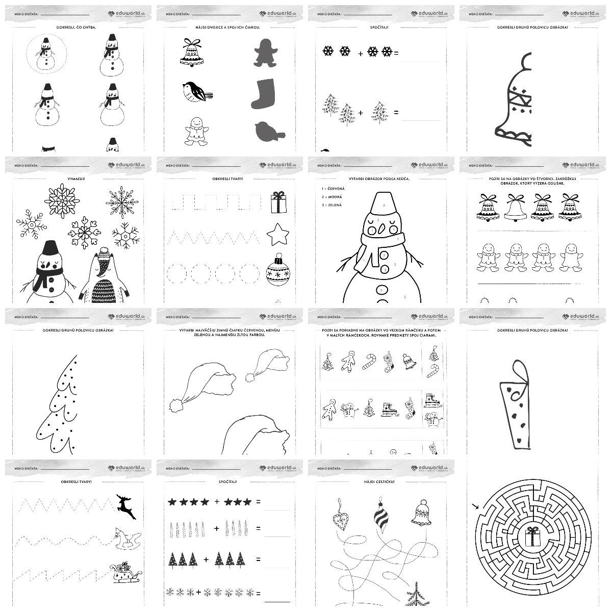 Pracovné listy pre predškolákov - Vianoce / Zdroj: Eduworld.sk