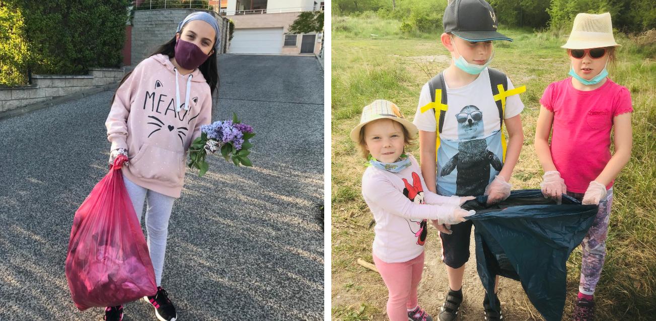 Počas Dňa Zeme boli deti čistiť životné prostredie vo svojom okolí a zbierali odpadky. / Zdroj: archív Brilliant Stars