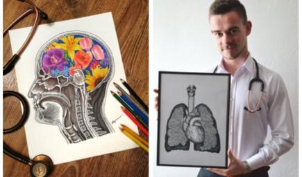 Budúci lekár spája medicínu s umením. Je autorom unikátnych kresieb