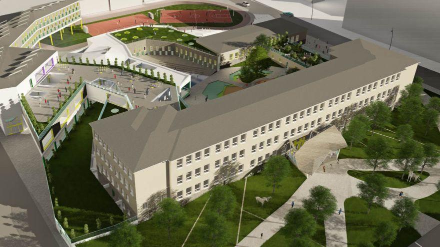 Pohľad na Základnú školu na Sibírskej ulici v novom šate. Takto by podľa tímu dizajnérov mohli vyzerať aj iné slovenské školy. / Foto: Andrey Golovashev