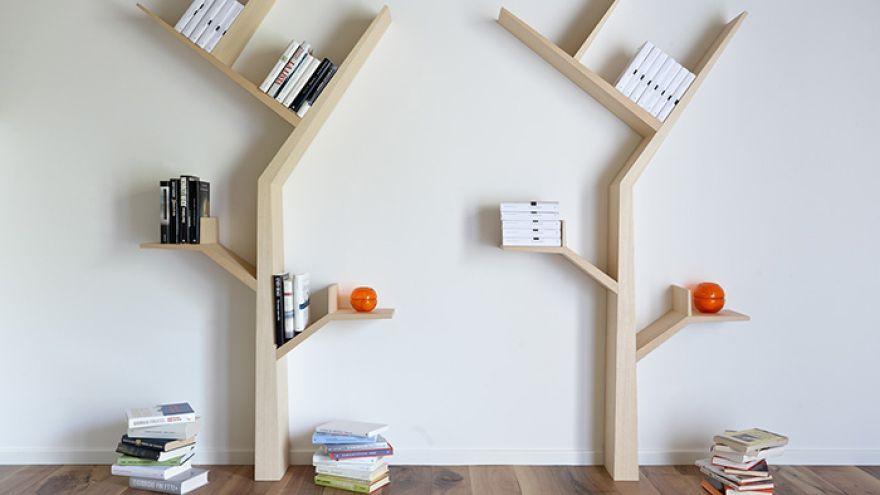 Kreatívna knižnica v tvare stromu