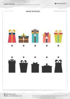 Nájdi dvojice darčekov  - rozpoznávame tiene