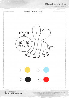 Omaľovánka podľa čísel s včielkou
