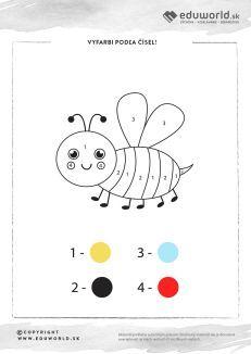 Vyfarbi včielku podľa čísel