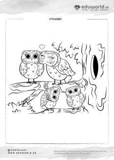 Omaľovánka pre deti - sovia rodinka