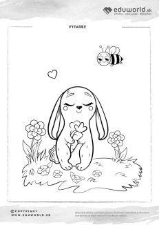 Omaľovánka pre deti so zajkom