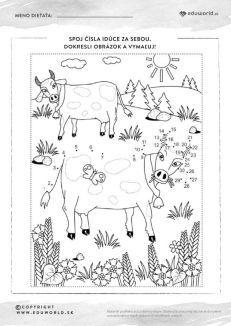 Omaľovánka so spájaním čísel pre predškolákov - kravičky