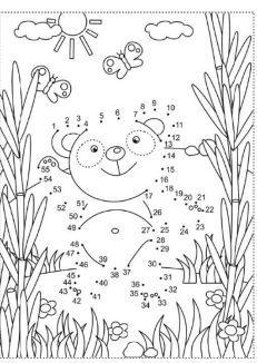 Pracovný list pre predškolákov s medvedíkom - spájanie čísel