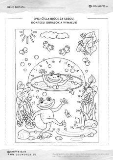 Spoj čísla a vyfarbi si obrázok so žabkami